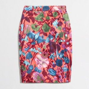 [J. Crew] pink floral pencil skirt #F16